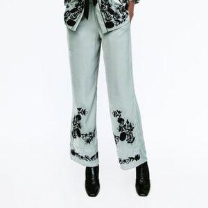 Zara Embroidered Velvet Pant